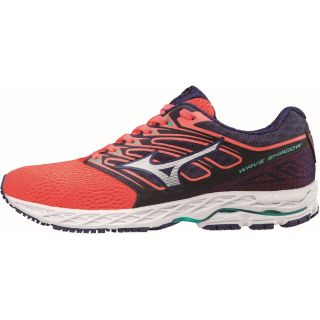MIZUNO Wave Shadow Women Fiery Coral / White / Blue Depths