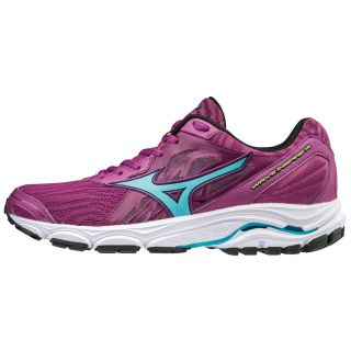 MIZUNO Wave Inspire 14 Women Clover/Blue Atoll/Safety Yellow J1GD184432