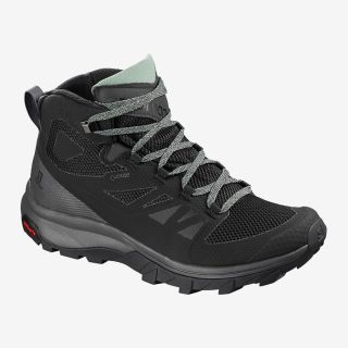 Salomon Schuhe OUTline Mid GTX W Black/Magnet/Green Milieu